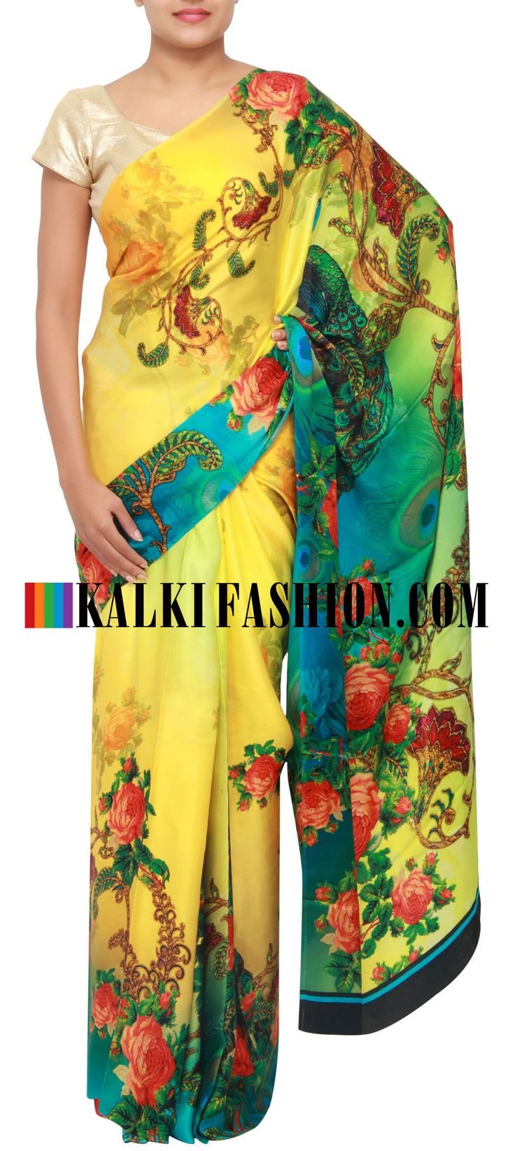 Get this beautiful saree here: http://www.kalkifashion.com/yellow-printed-saree-in-floral-motif-only-on-kalki.html Free shipping worldwide.