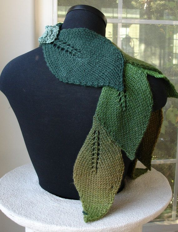 Knit Leaf Scarf pattern on Etsy