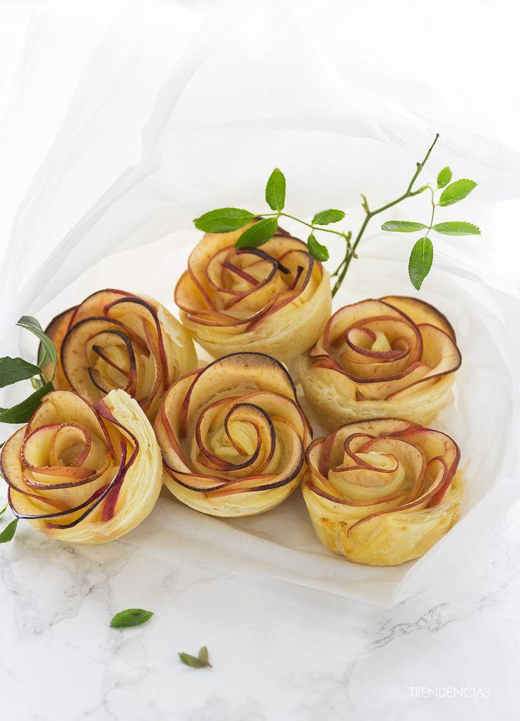 Rosas de manzana y hojaldre. Receta con fotografías del paso a paso y sugerencias de presentación. Trucos y consejos de elaboración. Receta de p...