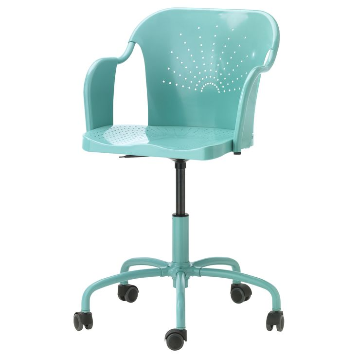 IKEA - ROBERGET, Swivel chair, turquoise,  , , You sit comfortably since the chair is adjustable in height.You sit comfortably thanks to the shaped back and scooped seat.The casters are rubber coated to run smoothly on any type of floor.