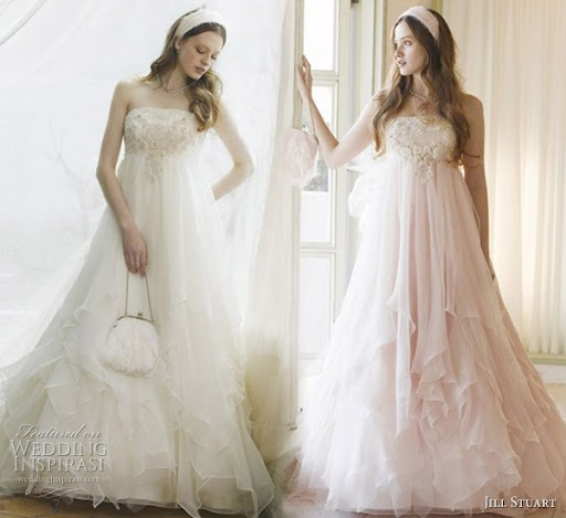 Jill Stuart 'Shabby chic' wedding dress -- this would be gorgeous if it weren't strapless! So fairy-tale. <3