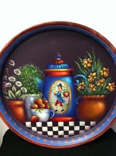 Original painted tray by Rosemary West