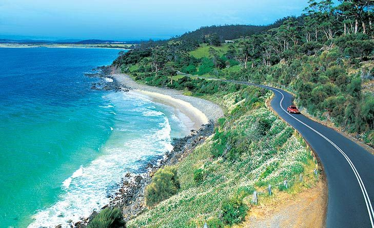 North-East Tasmania -- Head from Launceston along the Tasman Highway towards Targa, where you'll find some seriously sharp corkscrew bends, down the coast towards St Helens rewards you with kilometres of twisting corners to Pyengana. South to Bay of Fires with its orange boulders, and Bicheno with some of the greatest beach spots. On to Coles Bay in the Freycinet Peninsula to check out the impossibly white sands of Wineglass Bay, which is juxtaposed against the rocky outcrops of The Hazards.