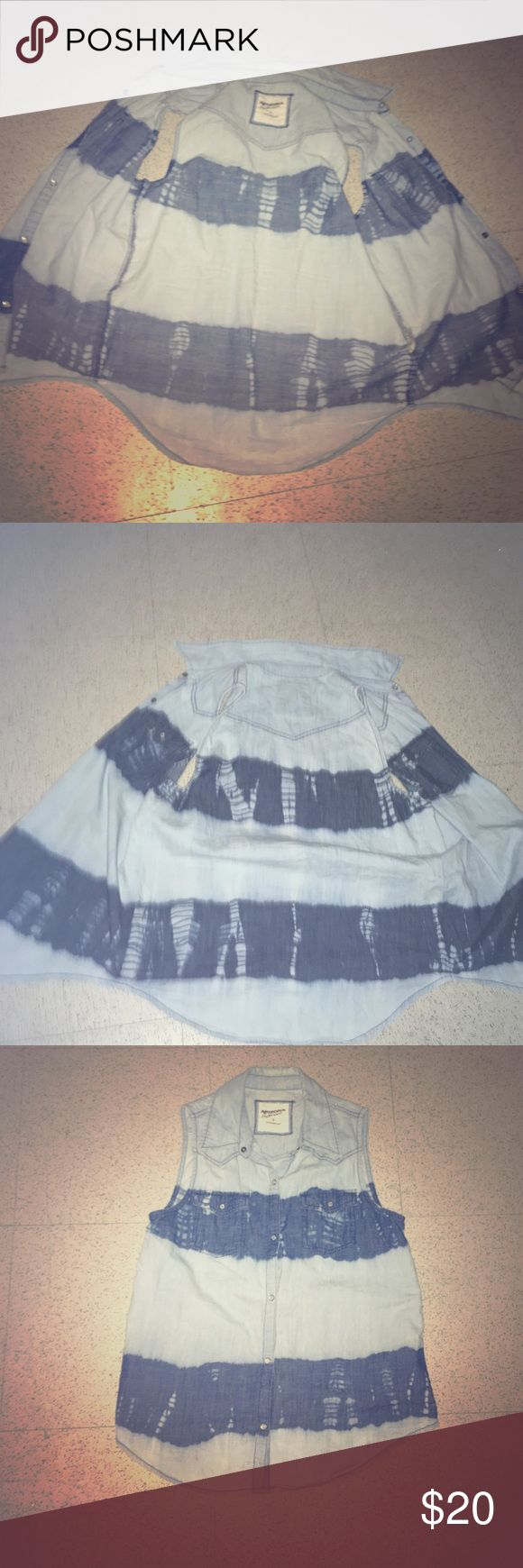 Tye dye Sleeveless denim shirt It is light blue and dark blue it can be buttoned up and has cute little pockets. Great for the summer time. Arizona Jean Company Tops Button Down Shirts