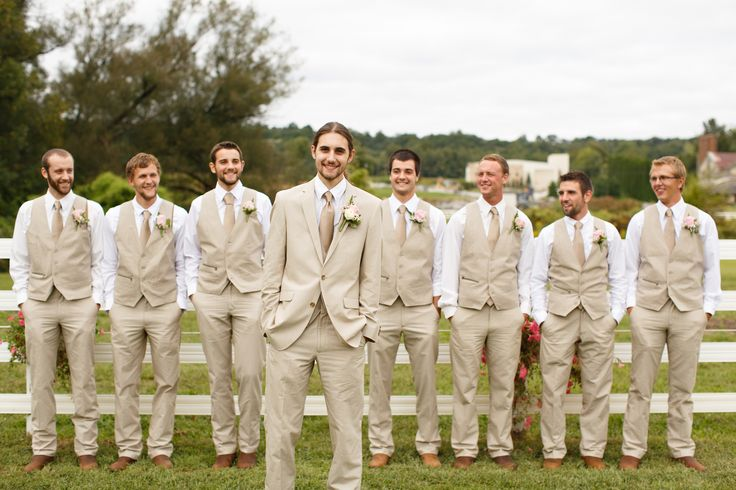 Also a great looking group of guys! fall rustic backyard wedding groomsmen khaki vests