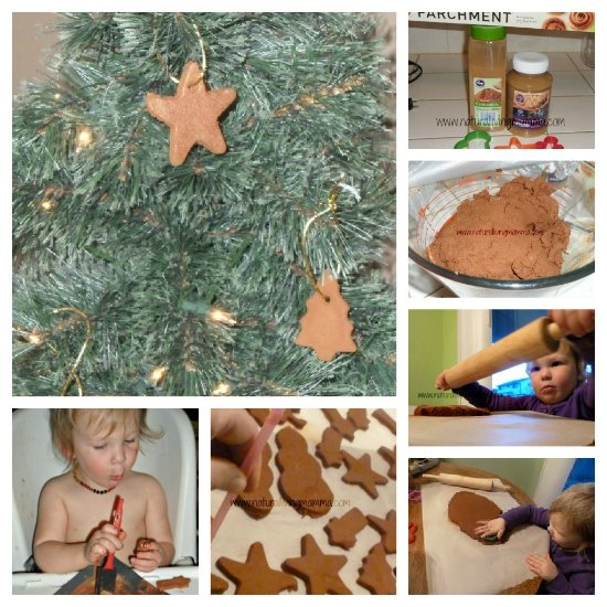 Cinnamon Ornaments    2c Cinnamon with a little extra to dust the parchment paper and rolling pin  2c Applesauce  Parchment Paper  Rolling Pin  Cookie cutters  Straw  String, twine, or ribbon to hang the ornaments with.  Optional:  Essential oils to enhance the delicious smells of the holidays like ginger, peppermint, wild orange, nutmeg, cardamom, cloves.  Paint or other art supplies to decorate the ornaments with.
