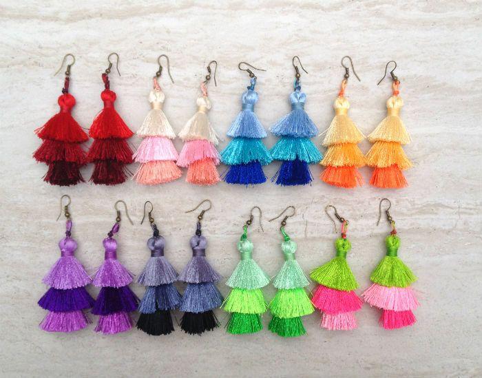Wholesale Silk Tassel Stack Earrings Festival Tassel Earrings Tassle Earings BOHO Chic Earrings Gypsy Tassle Jewelry Trending Jewelry 25pcs+ by midgetgems on Etsy
