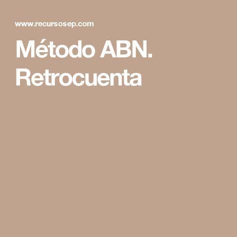 Método ABN. Retrocuenta