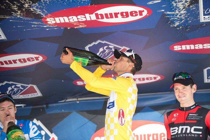 Gallery: 2014 USA Pro Challenge, stage 1 - Kiel Reijnen enjoyed a big swig of beer to celebrate his win on the podium. Photo: Casey B. Gibson   www.cbgphoto.com