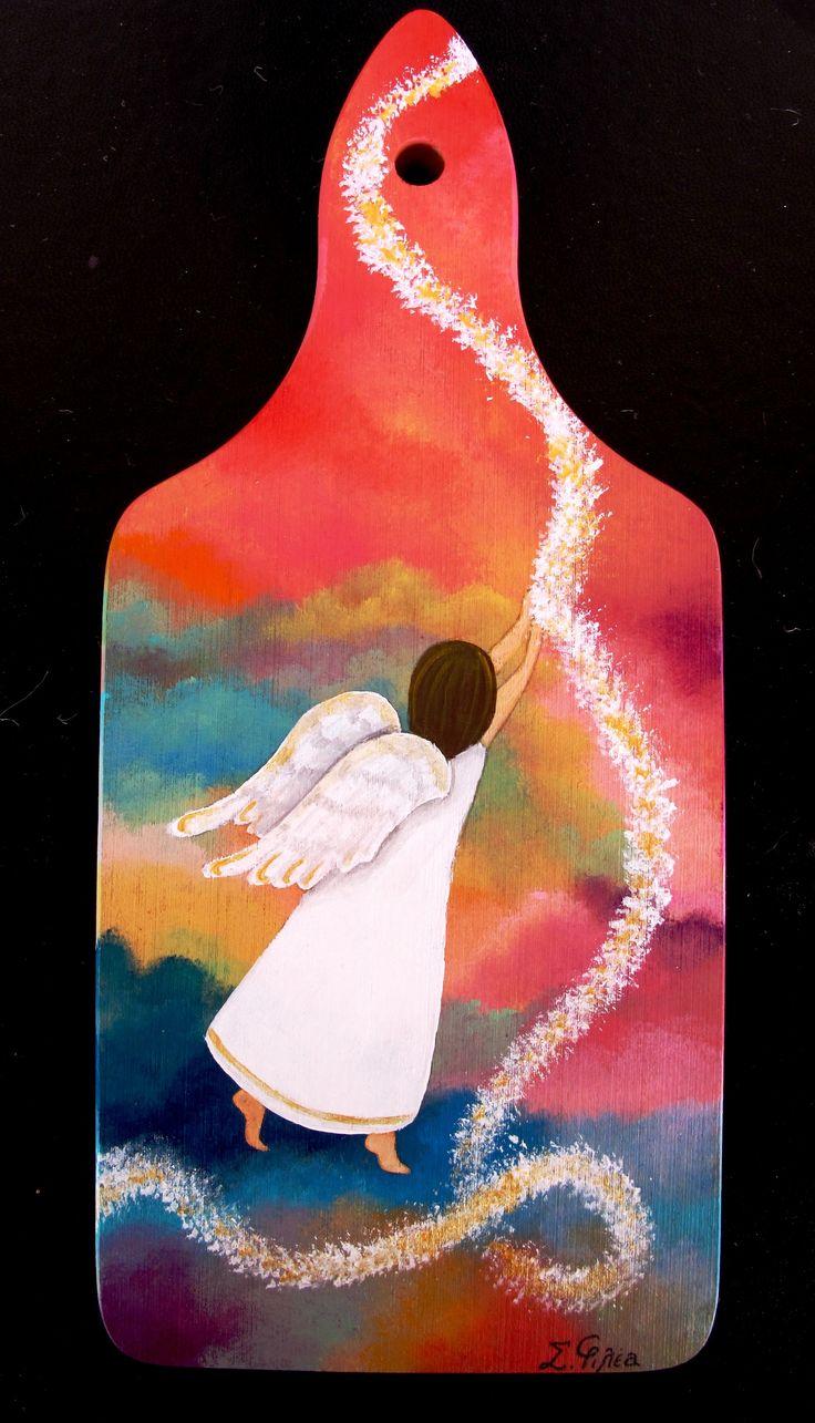 angel, wood, sky colours, climb in heaven www.facebook.com/SofiaFileasArt