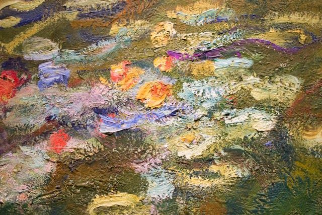 A Close Up Of A Monet Painting The Colors The