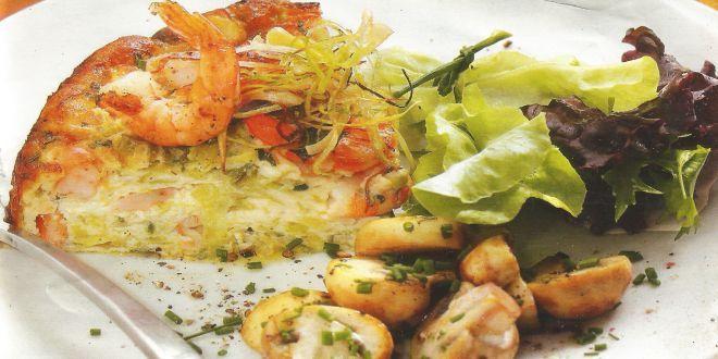 Pastel de Puerros y Camarones, una deliciosa y muy fácil Receta, ideal para acompañar con Champiñones salteados y Ensalada verde.