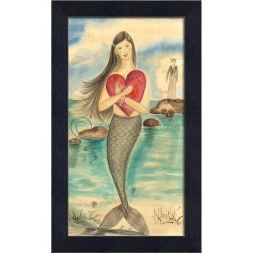 """Romantically Inspired 11"""""""" x 18 1/2""""""""""""""""black bevel-framed dark haired mermaid with a large red heart waiting for her Valentine! Think about grouping together a series of these special pieces of coast"""