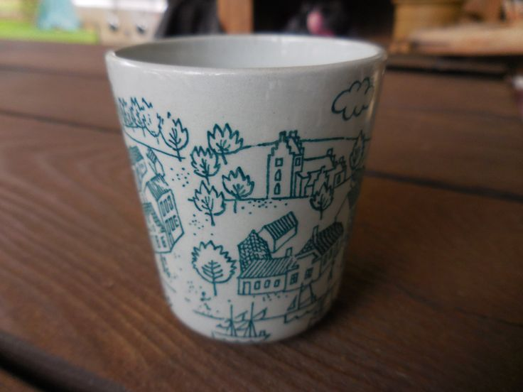 Vintage Shot Glass Denmark Limited Edition Scandinavian Cup Village Scene Nymolle Art Faience Hoyrup 1960s to 1970s Teal Boats Shot Glass by KimsKreations17 on Etsy $9.99