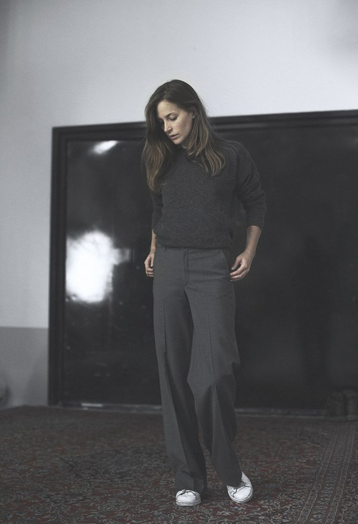 Charcoal sweater, wide-leg trousers & white trainers | @styleminimalism
