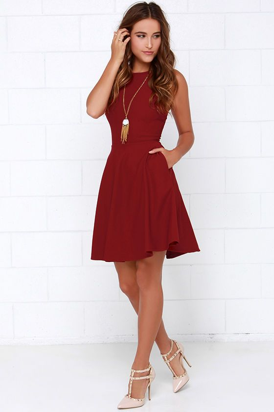 Now or Skater Wine Red Dress at Lulus.com!