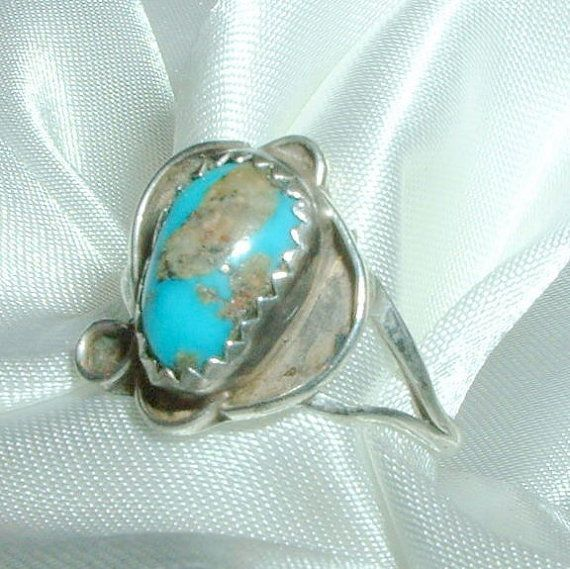 Native American Turquoise Ring Size 8 Estate Vintage