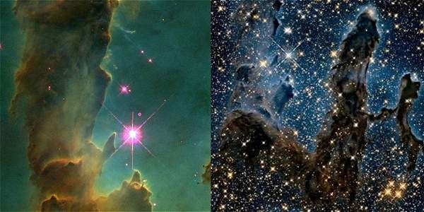 El Telescopio Espacial Hubble tomó estas imágenes de los Pilares de la Creación, en 1995 (izq.) y 2015 (der.).