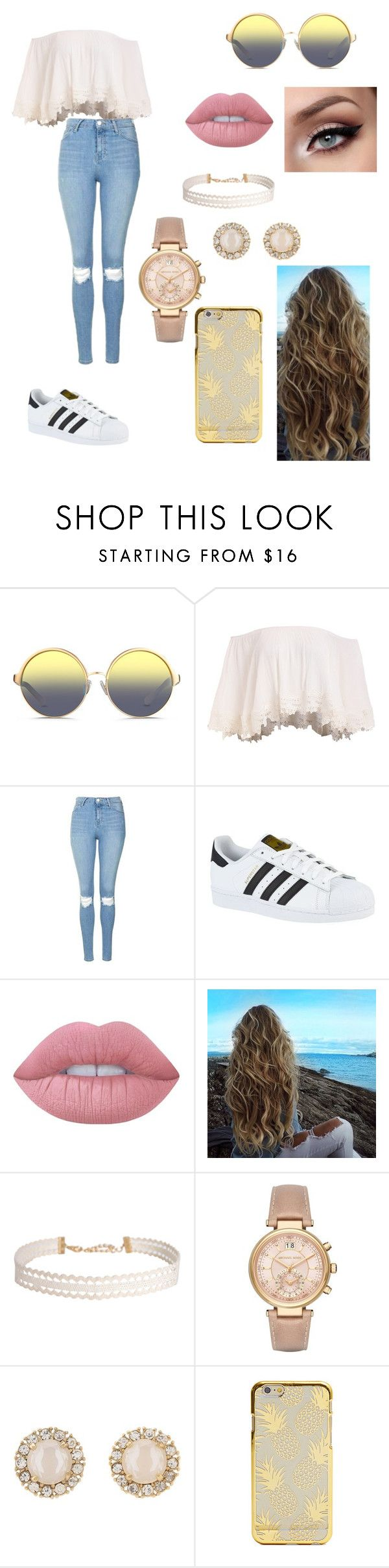 """Untitled #58"" by paigevjacobs on Polyvore featuring Matthew Williamson, Topshop, adidas, Lime Crime, Humble Chic, Michael Kors and Kate Spade"