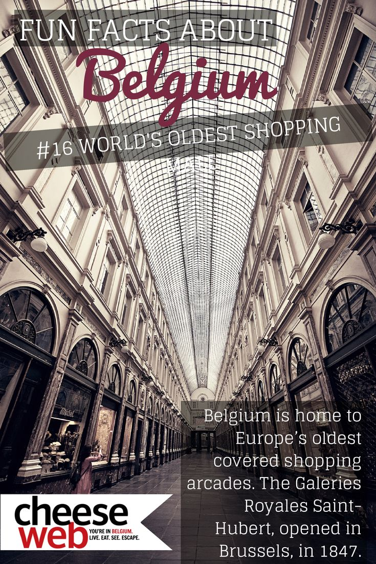 Belgium is home to the world's oldest covered shopping mall - it's beautiful too! #Brussels #Belgium Read more fun facts about Belgium here: http://cheeseweb.eu/2009/08/25-belgium/