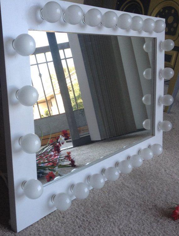Lighted table top vanity mirror called White by WoodUBeMine