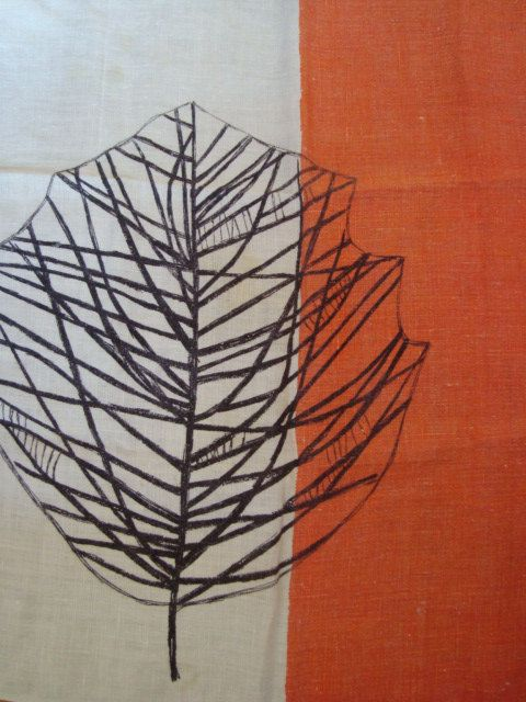 Vintage Lucienne Day Black Leaf