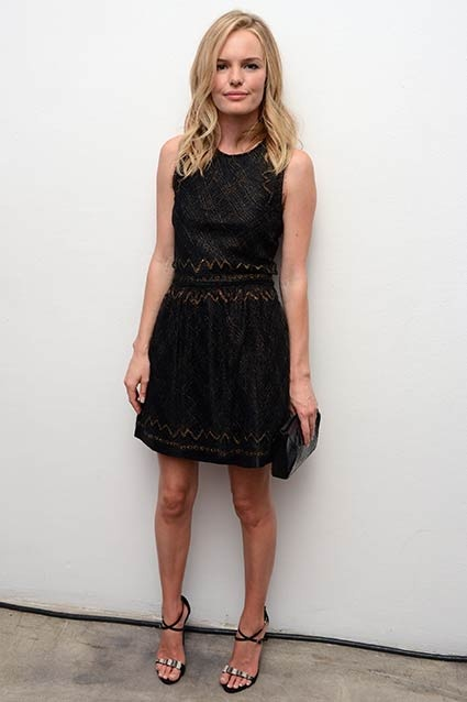 Kate Bosworth wore a custom Theyskens' Theory short-sleeve dress with gold embroidery to the 2012 Whitney Art Party sponsored by Theory and Saks Fifth Avenue on June 6, 2012 in New York City.