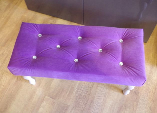 Pikowana ławeczka/pufa/podnóżek ludwik fiolet - DekorZoo - Pufy