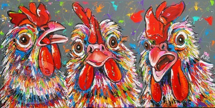 Chicken party 160 x 80 - Cheerful Painting