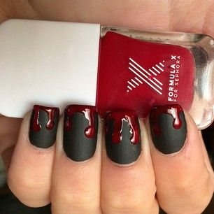 "Matte Black + Drippy Blood = one fangtastic look. | 21 ""True Blood"" Inspired Manicures That Will Bring Out Your Inner Vampire"