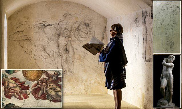 More than thirty years after their discovery, these rarely seen 'Michelangelo' drawings in Florence have been revealed in breathtaking photos captured by photographer Paolo Woods.