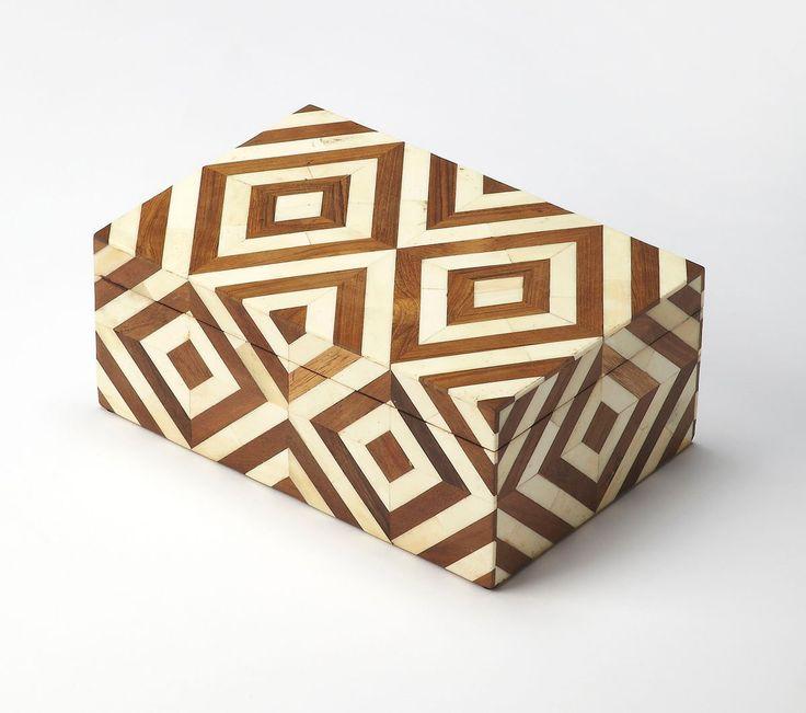 Maya Transitional Rectangular Bone Inlay Storage Box Multi-Color