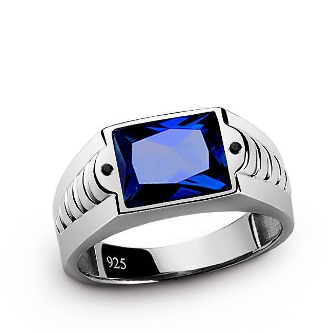 Blue Stone Man Ring Sapphire Ring Man Engrave Man Ring Engagement Ring Man Gemstone Man Ring 92 Sterling Silver Mens Rings Rings For Men Mens Silver Rings