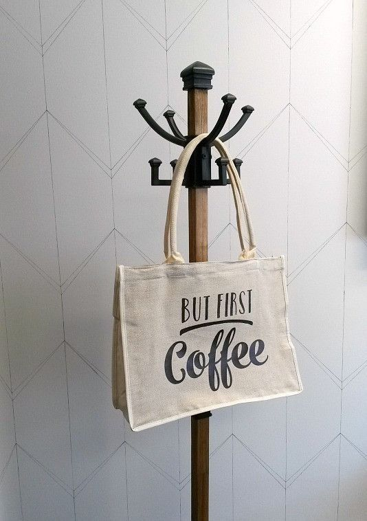 Jute Tote Bag - But first coffee - Netties Expressions | Cotton tote bag customized with heat transfer vinyl designed and created by Netties Expressions |  © 2017 Netties Expressions | https://www.nettiesexpressions.com