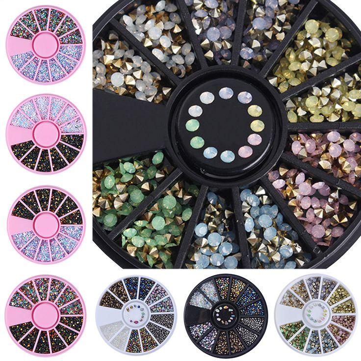 1 Kotak Chameleon Batu Irregular Beads Nail Berlian Imitasi Warna Campuran 3D Nail Dekorasi di Wheel Caviar Beads Datar Kancing Bawah