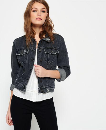 Womens - Girlfriend Denim Jacket  in Stone Black | Superdry