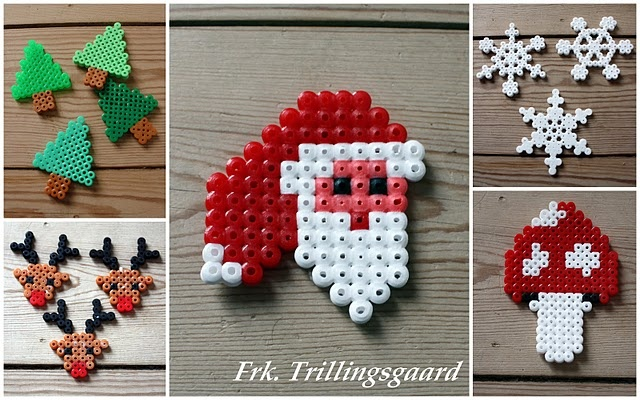 Hama bead Christmas decorations. Think I'll make these and cover them in glitter