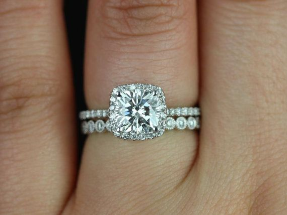 Petite Catalina & Petite Bubbles Platinum Cushion FB Moissanite and Diamond Halo Wedding Set (Other metals and stone options available)