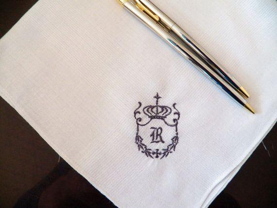 Personalized Monogram Handkerchiefs for Men Set of 3 Custom Made