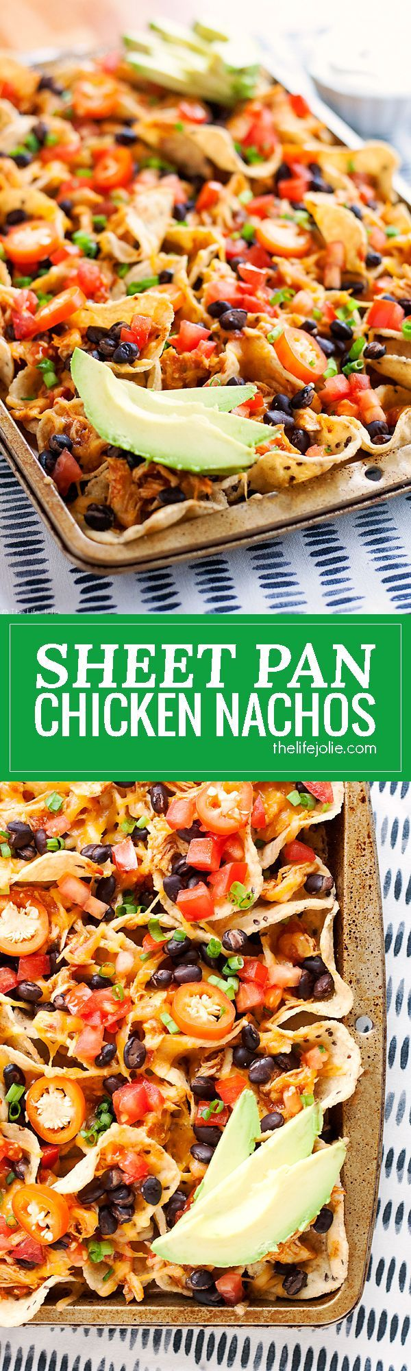 These Sheet Pan Chicken Nachos are an easy and delicious game day snack recipe! They are so simple to put together and bake up in the oven with tortilla chips, leftover taco meat, plenty of cheese and all sorts of other great toppings! You've got to try t