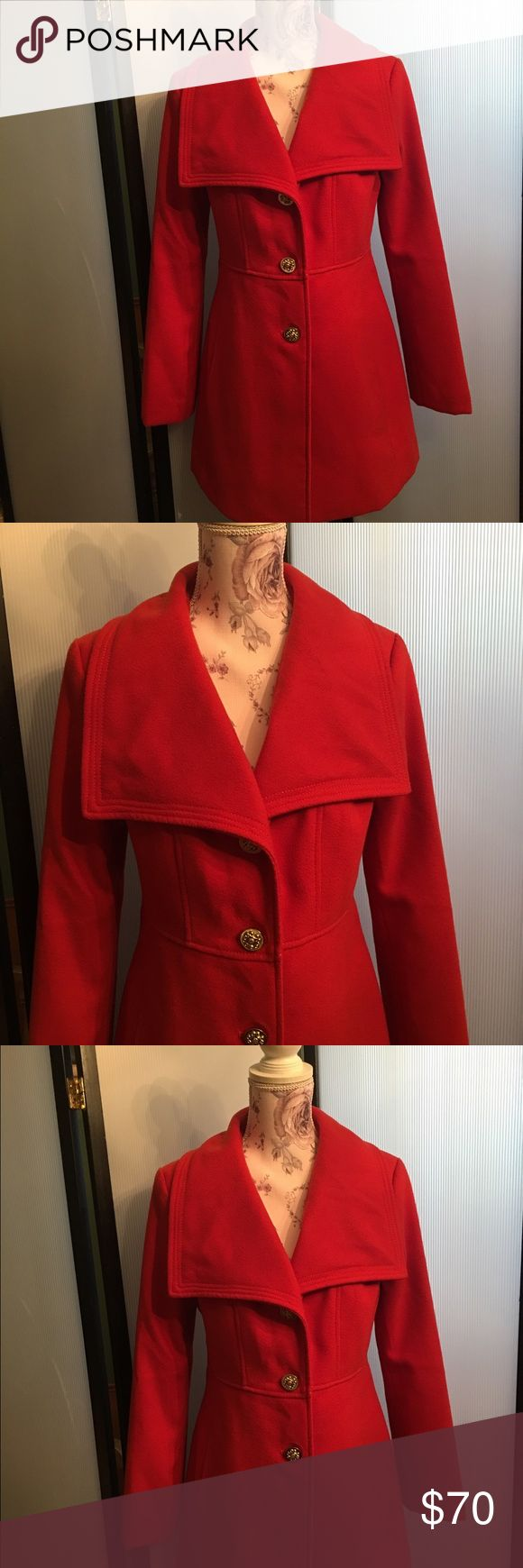 Jessica Simpson Coat NWOT Red Jessica Simpson Shawl Collar Pea Coat new without tag, does come with extra button attached to tag. Jessica Simpson Jackets & Coats Pea Coats