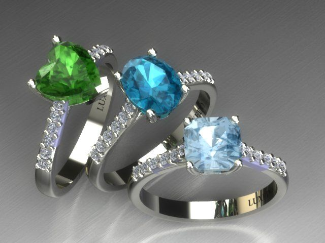 Diamond micropavè settings for gemstone jewels and engagement rings from Luxedogems.com