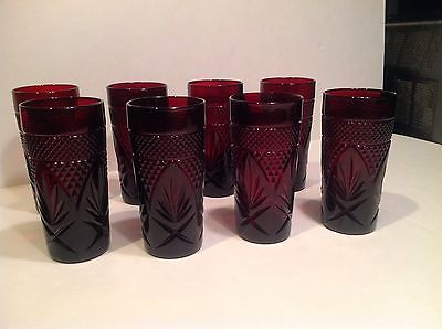 8 Luminarc 15 Oz Ruby Red Drinking Glasses Made In France.GORGEOUS!!