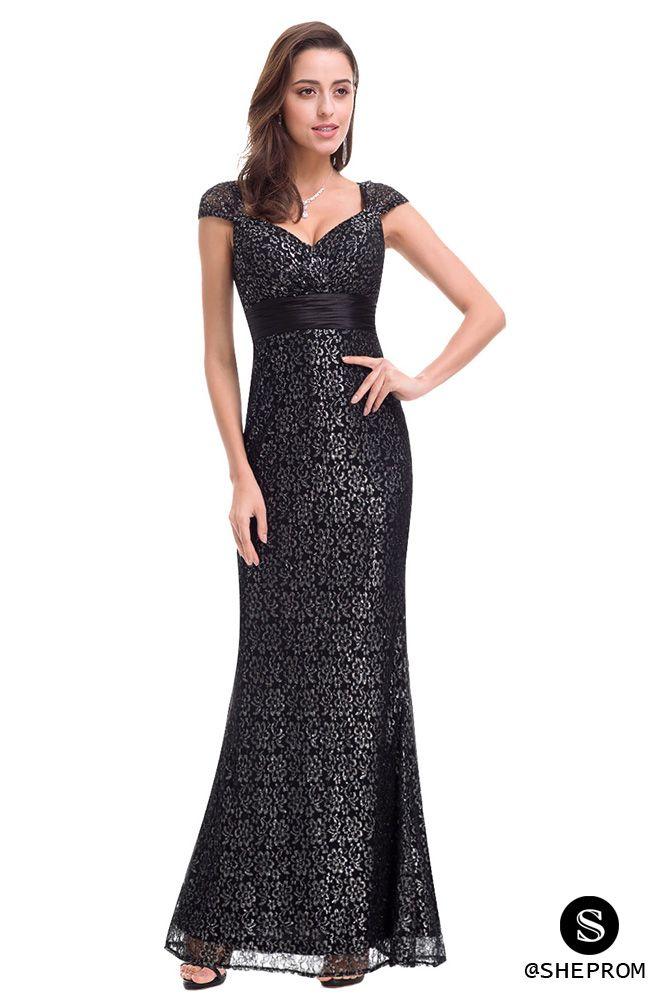 Black Lace Cap Sleeve Long Mermaid Evening Party Dress 59