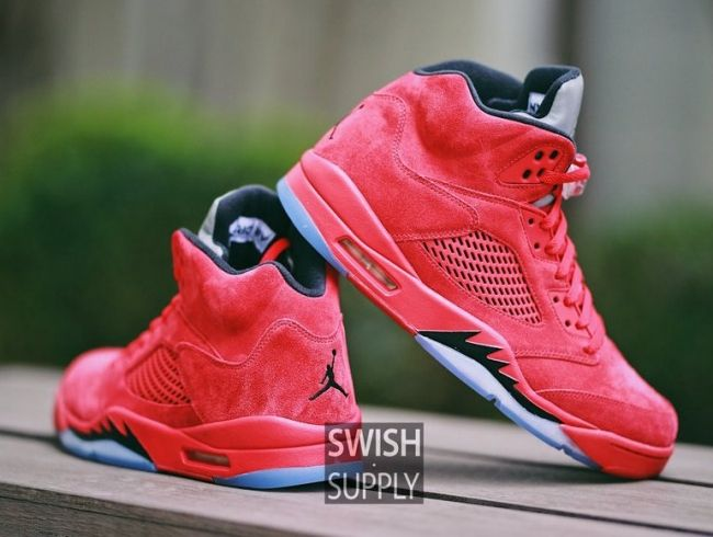 promo code 8f0cc 3330d air jordan 5 black orange pink  an on feet look at the air jordan 5 red  suede, a new colorway scheduled