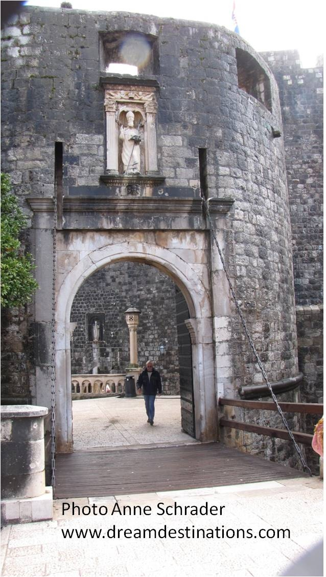 Entrance Gates to the walled city of Dubrovnik, Croatia