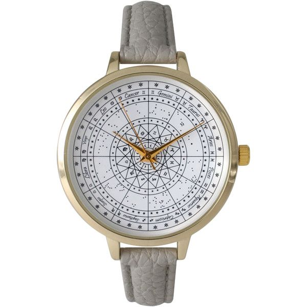 Olivia Pratt Watches Grey Leather & Zodiac Dial Watch, 38mm found on Polyvore featuring jewelry, watches, accessories, grey, buckle watches, buckle jewelry, leather watches, leather-strap watches and gray jewelry