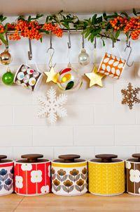 Do I need another reason to buy more storage jars? NO! :) -- Orla Kiely Christmas kitchen