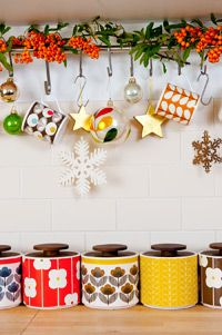 Orla Kiely canisters in a Christmas-y kitchen