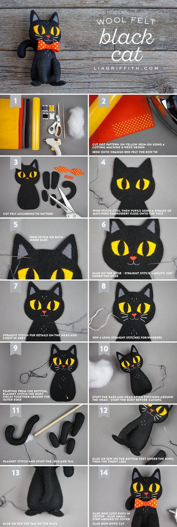 DIY Black Cat Stuffie - Lia Griffith - www.liagriffith.com #diyhalloween #stuffedanimal #felt #feltcute #feltcraft #feltcrafting #feltcrafts #diykids #diytoys #madewithlia